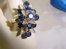 Vtg Gorgeous 10k Yellow Gold 11 Stones 4 Carats Blue Sapphire Ring Size 8 #1886