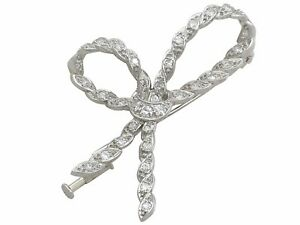 Antique French Diamond and 18k White Gold Bow Brooch 1930s