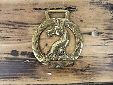 Horse Brass Donkey / horse head wreath. Antique Original Collectable
