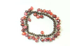 LADIES RUSTIC BLOOD RED MILKY STONED GOTHIC BEADED BRACELET(ZX4)