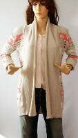 Dreams Multicoloured Beige Women`s Cardigan Jacket Sweater Size 10 Made UK Cotto