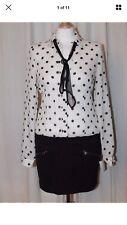 Killah Size 10 Miss Sixty Black White Spot Shirt Skirt Mesh Neck Tie Mini Dress