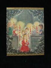 Vintage Christmas Greeting Card Children Choir Church Candles C. R. Thomson Art