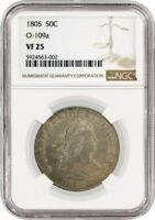 1805 50C Draped Bust Heraldic Eagle Half Dollar Silver Overton O-109a NGC VF25