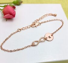 Rose Gold Infinity & Initial Charm Bracelet Personalised Gift