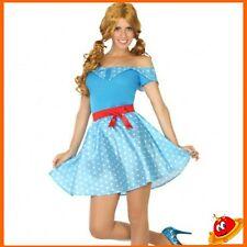 Costume Carnevale Donna Ragazza Abito Grease Azzurro Barbie Anni 60s50s Tg 36-46