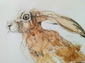 HARE Original painting watercolour signed animal painting
