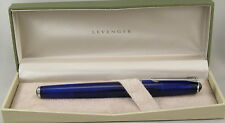 Levenger True Writer Blue Transparent & Chrome Fountain Pen - Fine Nib - New