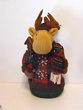 Plush Weighted Red Plaid Reindeer With Birdhouse Christmas Holiday Decoration
