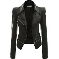 Womens Crop Coat PU Leather Zipper Slim Biker Motorcycle Short Jacket Winter UK