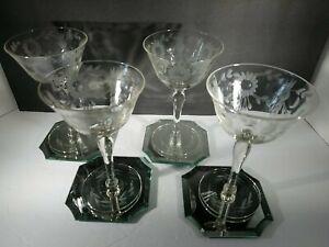 4 Vintage  Crystal Etched Cocktail Glasses, martini,  cordial 4 oz.