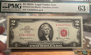1963A $2 Federal Reserve Note PMG Choice UNC 63 EPQ FR# 1514 AA Block