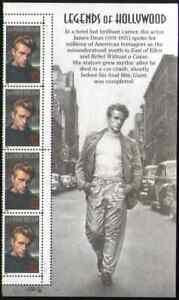 US. 3082. 32c. James Dean (1931-55) Strip of 4 with Selvage.  MNH. 1996