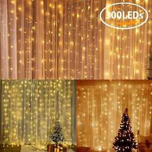 3x3M 300 LED Curtain Fairy Lights Wedding Indoor Outdoor Christmas Garden Party