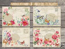 4 Vintage Postkarten, Romantisch, Cottage, Shabby, Nostalgie Grusskarten