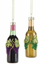 Set of Two Assorted Decorative Grapes Wine Bottle Ornaments