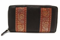 Women's Zip Around Purse Cow Leather Clutch Wallet Embroidery lace Bag 22 YL