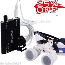 BLACK*Dental Surgical Binocular Loupe, 3.5X420mm LED Head Light & SALE 25%OFF