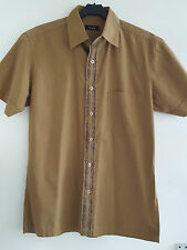 Linea Men's Short Sleeve Cotton Shirt, Olive Green with Black Decorative Pattern
