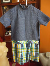 "sz 10 GIRLS Vtg 70s Penneys Acrylic Knit ""DENIM"" Plaid Skirt MOd Zipback Dress"