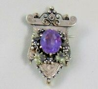 Victorian Etruscan Revival 14k Rose Gold Brooch Pendant Watch Purple Stone 12.6g