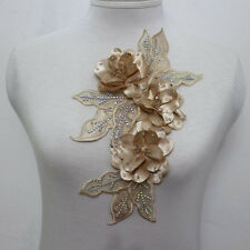 1Pcs Leaves Flowers Chiffon AB Crystal Beaded Applique Motif Muscle Color Sew On