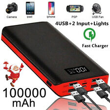 2020 New Portable Power Bank 100000mAh External Backup Battery Pack 4USB Charger