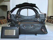BALENCIAGA GIANT FIRST BAG BLACK LAMBSKIN LEATHER WITH MIRROR 062827-9