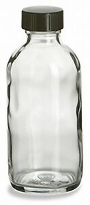 4 oz (120 ml) Clear Glass Bottles with Black Screw-On Caps (Lot of 24)