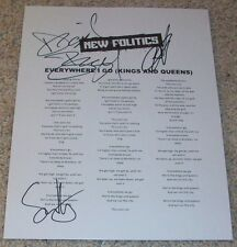 NEW POLITICS SIGNED AUTOGRAPH EVERYWHERE I GO LYRICS SHEET DAVID BOYD +2 w/PROOF