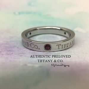 Excellent Authentic Tiffany & Co. Logo 3 Ruby Platinum Ring PT950 RP$1500 #5