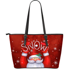 Christmas Santa Snowman Large Leather Tote Bag