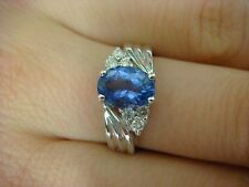 !GORGEOUS 1.25 CARAT T.W. AAA DEEP COLOR TANZANITE AND DIAMONDS LADIES RING