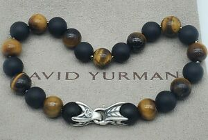 David Yurman  Spiritual 8mm Beaded tiger's eye & Black Onyx Bracelet