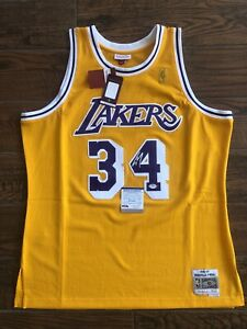 Shaquille O'Neal Signed Mitchell Ness Lakers Jersey Shaq Autographed PSA WITNESS