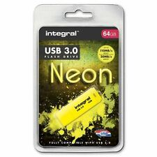 Integral 64GB Neon USB 3.0 Flash Drive in Yellow - Up To 10X Faster Than USB 2.0