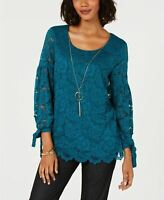 JM Collection Lace Bell Sleeve Blouse Dark Green M
