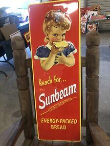 Sunbeam Bread Garage Man Cave Large heavy metal embossed sign 42x14
