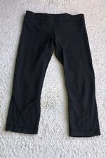 LULULEMON RUN: INSPIRE CROP II Luxtreme mesh Black cropped leggings pants 8