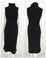 Womens MALO Bodycon Roll High Neck Knit Dress Black Soft Sleeveless Long Size M