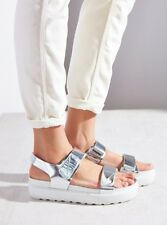 Vagabond Irene Silver Metallic Leather Adjustable Ankle Strap Sandals Sz 38 New