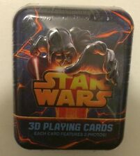 3D STAR WARS PLAYING CARDS IN METAL TIN - EACH CARD HAS 2 PHOTOS -HARD TO FIND!
