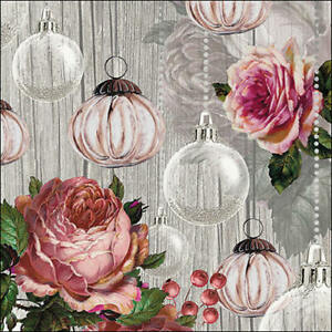 Ambiente Paper Napkins, Pack of 20, 3-ply Lunch Size Rose And Baubles