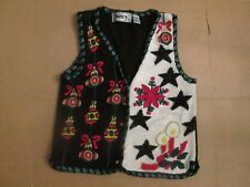 Womens UGLY CHRISTMAS SWEATER button up vest sz L Lg Marie y
