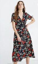 New Madewell Peekaboo-Sleeve Midi Dress in Hillside Daisies Multi Sz 6 L2398