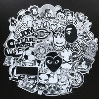 50Pcs Black White Vinyl Skateboard Stickers Bomb Luggage Laptop Car Decals Pack