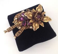 1960's WEST GERMANY Antiqued Gold Tone Rhinestone Faux Pearl/Amethyst Brooch Pin