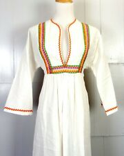 vtg 60s NWOT Hippy Boho Colorfully Embroidered Empire Maxi Dress Flare Sleeves