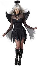 Womens Sexy Dark Fallen Angel Costume with Black Wings Halloween Fancy Dress
