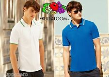 STOCK 50 pezzi FRUIT OF THE LOOM polo TIPPED manica corta BICOLORE da S a XXXL #